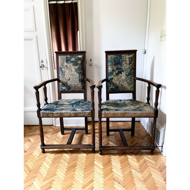 Charles II Revival 19th Century Walnut Arm Chairs With 17th Century Verdure Tapestry Upholstery - a Pair For Sale - Image 13 of 13