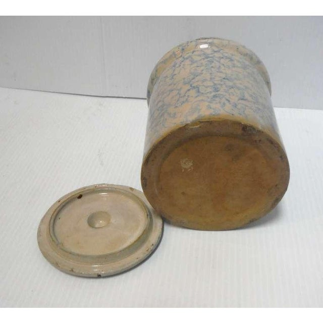 Rustic Rare 19thc Spongeware Pottery Cookie Jar For Sale - Image 3 of 6
