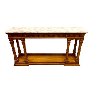 1970s Neoclassical Marble Top Console Table For Sale