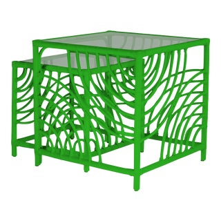 Swirl Nesting Tables - Bright Green For Sale