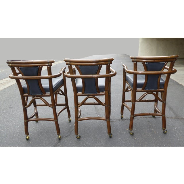 Ritts Co. Mid-Century Bamboo Bar Stools - Set of 3 - Image 5 of 11