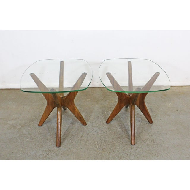 Mid-Century Modern Pair of Mid-Century Danish Modern Adrian Pearsall 'Jacks' Glass Top End Tables For Sale - Image 3 of 13