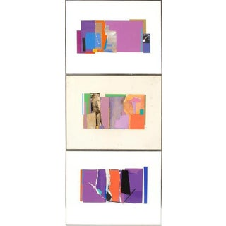 Abstract Framed Mixed Media Collages on Paper by Rosalind Pace - Set of 3 For Sale