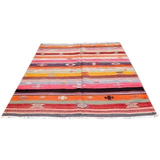 VINTAGE Handwoven Turkish Kilim Rug For Sale