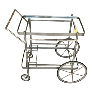Steel Faux Bamboo Mid-Century Bar Cart For Sale