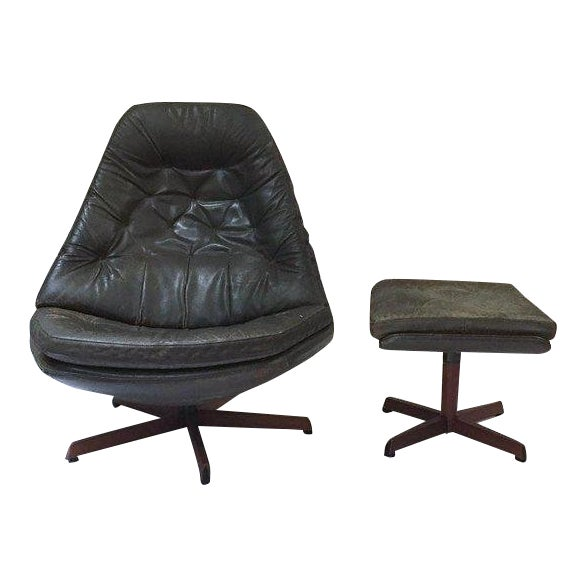 Mid Century Modern Danish Leather Chair & Ottoman Set All Original Swivel  Chair With Footstool