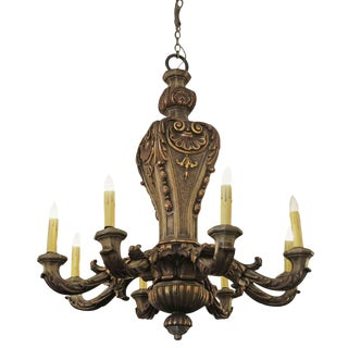 Restored 8 Arm Heavily Carved Mahogany Wood Gilded Chandelier