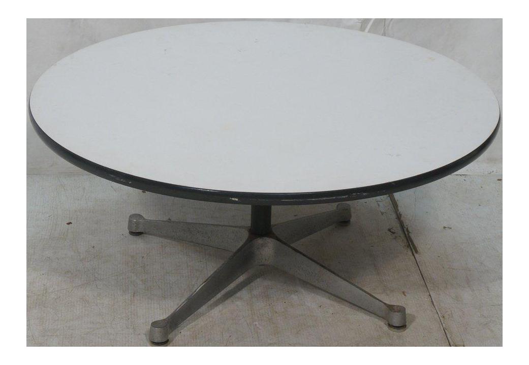Herman Miller Pedestal Coffee Table with White Laminate Top Circa