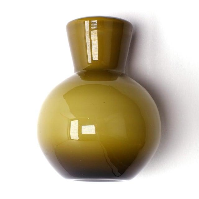 1960s 1960s Vintage Ekenas Glasbruk Olive Green Cased Glass Bud Vases — a Pair For Sale - Image 5 of 9