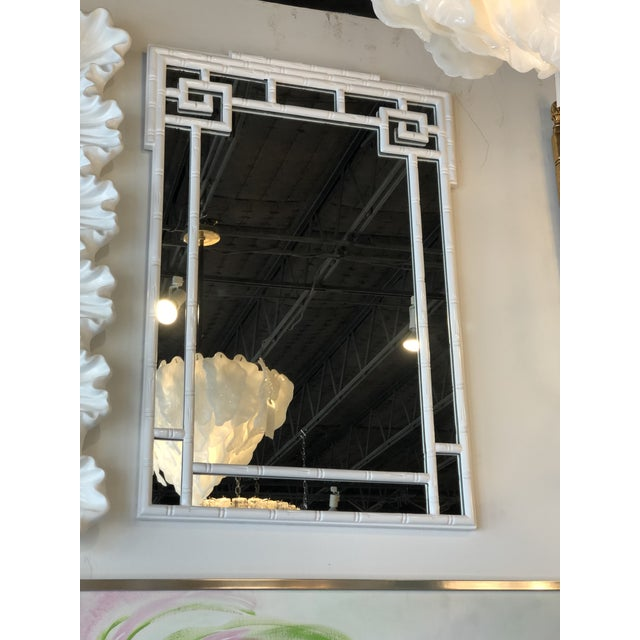 Glass Vintage Palm Beach White Lacquered Greek Key Faux Bamboo Wall Mirror For Sale - Image 7 of 11