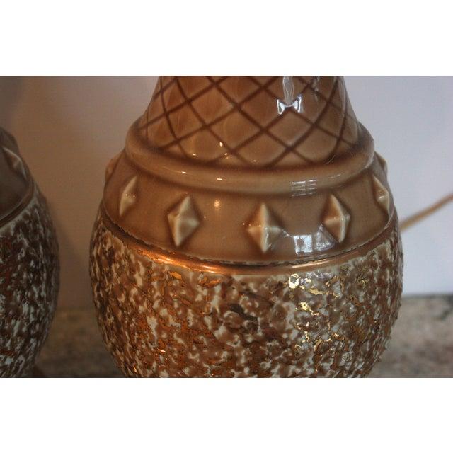 Mid-Century Tan & Gold Boudoir Lamps - A Pair - Image 3 of 4