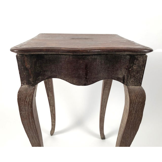 Small Louis XV Style Walnut and Limed Oak Side Table For Sale - Image 4 of 11