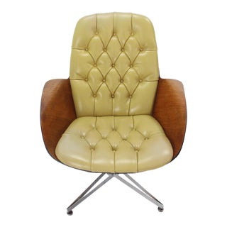 Mustard Green Upholstery Bent Plywood Plycraft Office Chair For Sale