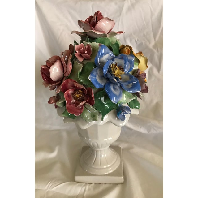 Capodimonte Style Porcelain Flower Arrangement - Image 2 of 6