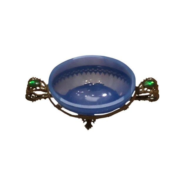 Glass Antique French Blue Opaline Salt Dish For Sale - Image 7 of 7
