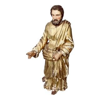 Antique Neapolitan Italian Polychrome Gilt Wood Statue For Sale