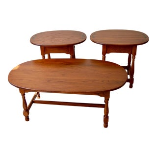 1990s Traditional Hitchcock Coffee Table and Matching End Tables - 3 Pieces For Sale
