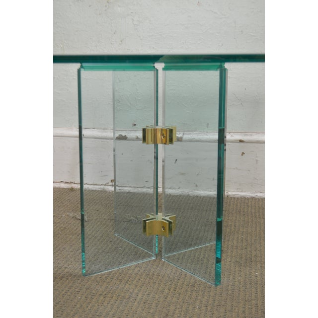 Gold Leon Rosen for Pace Modern Glass Brass Side Table For Sale - Image 8 of 13