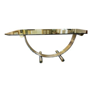 Iconic Hollywood Regency Romeo Rega Chrome & Brass Dining Table For Sale