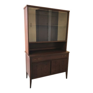 Mid Century Broyhill Saga Small Walnut China Cabinet For Sale