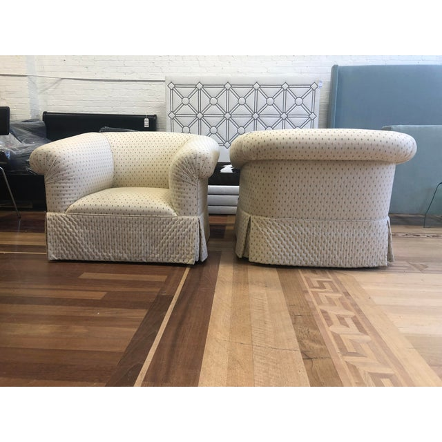 2010s Custom Rolled Arm Swivel Chairs - a Pair For Sale - Image 5 of 9
