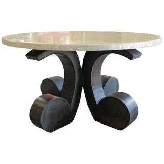 Reflective Abalone Table With Octopus-Like Metal Base For Sale