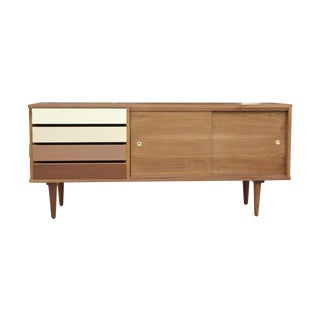 Walnut Credenza With Drawers For Sale