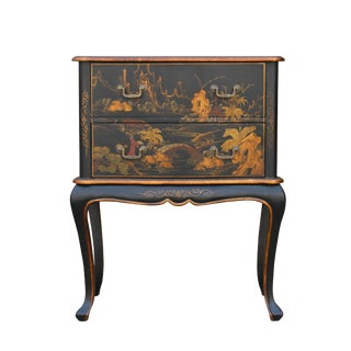 Chinese Oriental Black Gold Lacquer Scenery Graphic Credenza Side Table