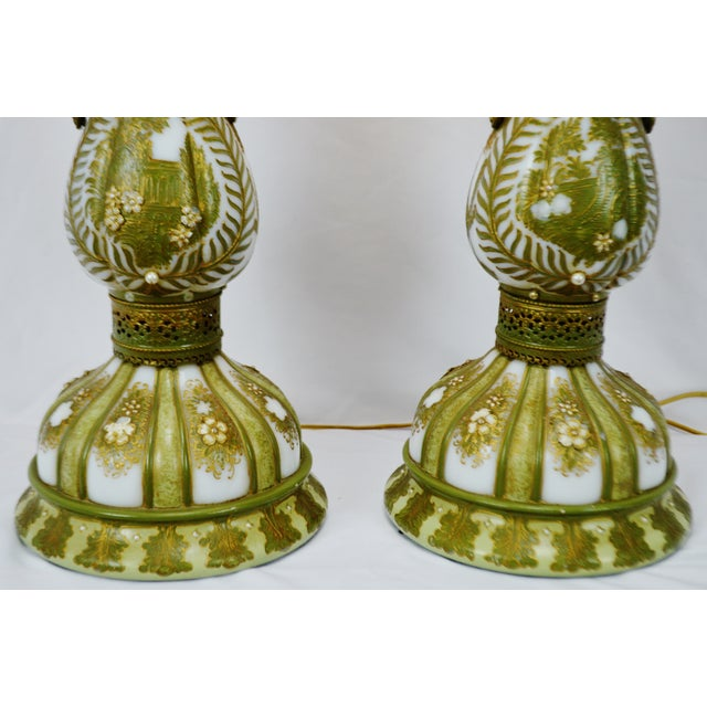 Vintage Hand Painted French Opaline Glass Table Lamps - a Pair For Sale - Image 11 of 13