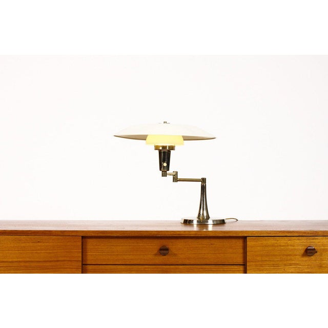 Mid Century Vintage Brass Swing Arm Table Desk Lamp For Sale In Los Angeles - Image 6 of 6