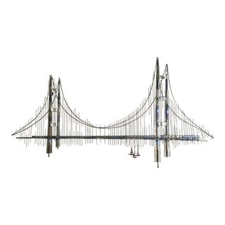 Mid-Century Brutalist Metal Wall Sculpture of Bridge by Curtis Jere For Sale