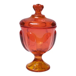 Vintage Orange and Yellow Ombre Viking Glass Lidded Candy Dish / Apothecary Jar For Sale