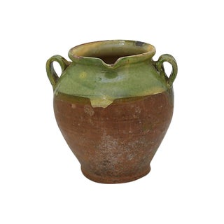 Antique French Green Terra Cotta Water Jug For Sale