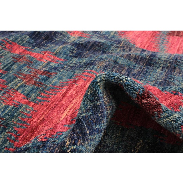 1960's Abstract Bohemian Pink and Blue Handmade Wool Rug For Sale - Image 4 of 6
