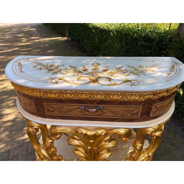 Rococo New Italian Rococo/Baroque Style Table in Gold and Brown With Wooden Top For Sale - Image 3 of 13