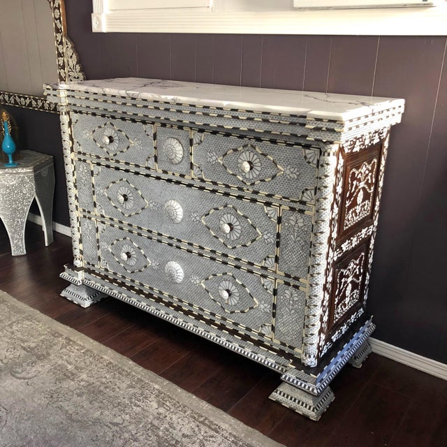Islamic Moorish All White Syrian Mother of Pearl Inlay Dresser For Sale - Image 3 of 10