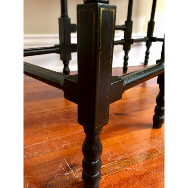 Lacquer 1980s Chinoiserie Baker Furniture Black Lacquer Gate Leg Side Table For Sale - Image 7 of 11