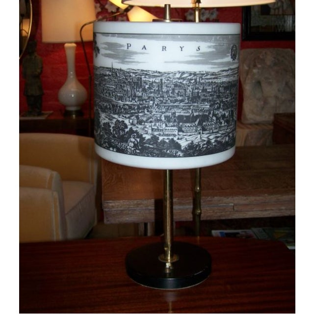 French Table Lamp With Painted Glass Shade For Sale - Image 4 of 6