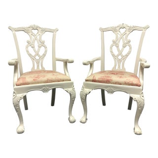 Painted Mahogany Chippendale Ball in Claw Arm Chairs - a Pair For Sale
