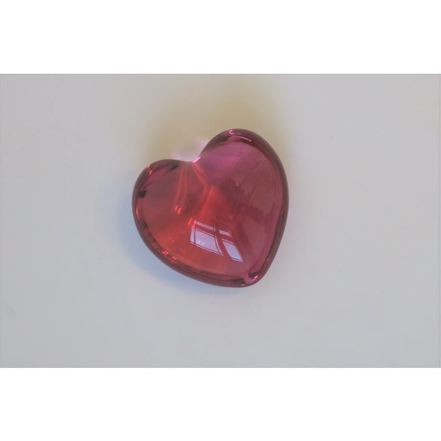 French Baccarat Pink Heart Paperweight or Decorative Object For Sale - Image 3 of 10
