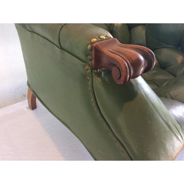 Green Mid Century Green Leather Spoon Chair and Ottoman For Sale - Image 8 of 12