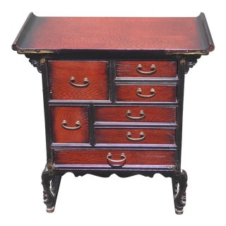 Vintage Oriental Asian Apothecary Chest of Six Drawers Cabinet Side Table For Sale