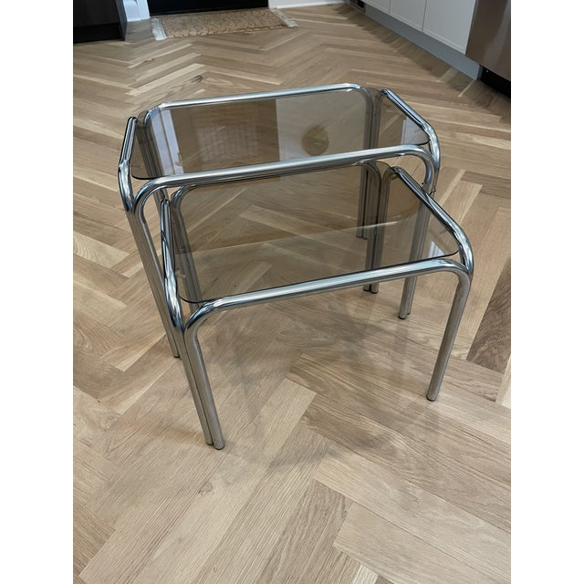Metal 1970s Chrome and Smoked Glass Nesting Tables - Set of 2 For Sale - Image 7 of 7