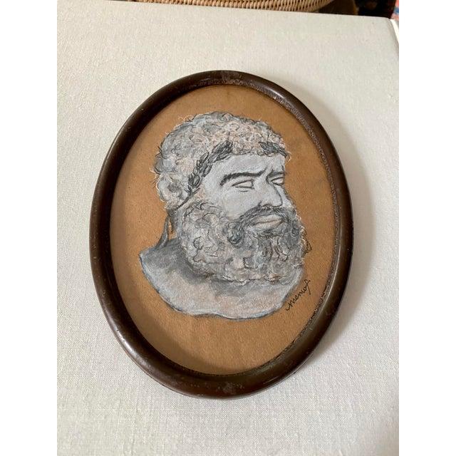 Metal Vintage Original Memo Faraj Hercules Bust Sketch Painting For Sale - Image 7 of 9