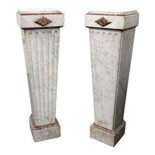 Mid-20th Century Regency Style Marble Pedestals - a Pair