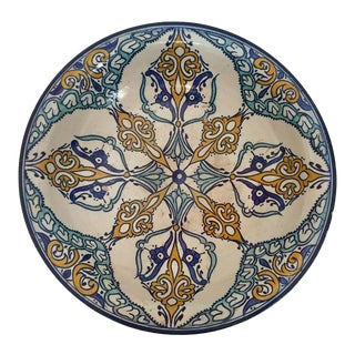 Moroccan Large Ceramic Plate Bowl From Fez For Sale