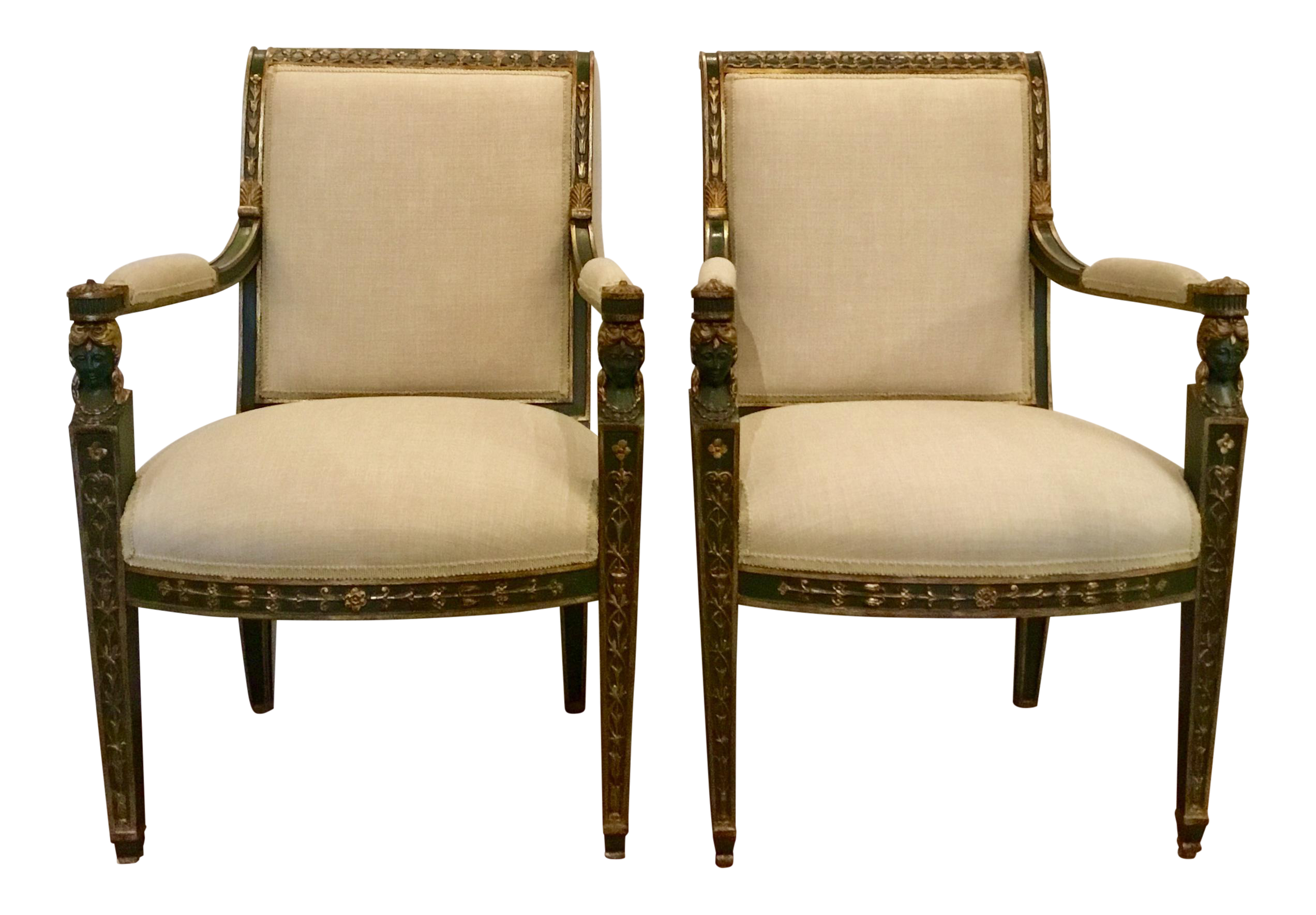Hand Finished Empire Chairs   A Pair