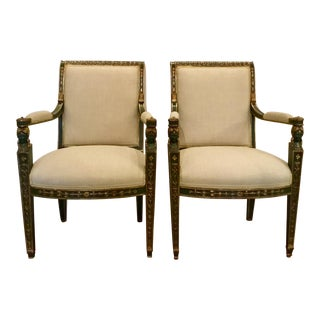 Hand Finished Empire Style Raw Silk Chairs Pair For Sale