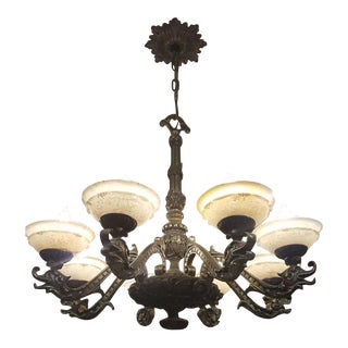 Solid Bronze 8-Arm Chandelier With Alabaster Shades