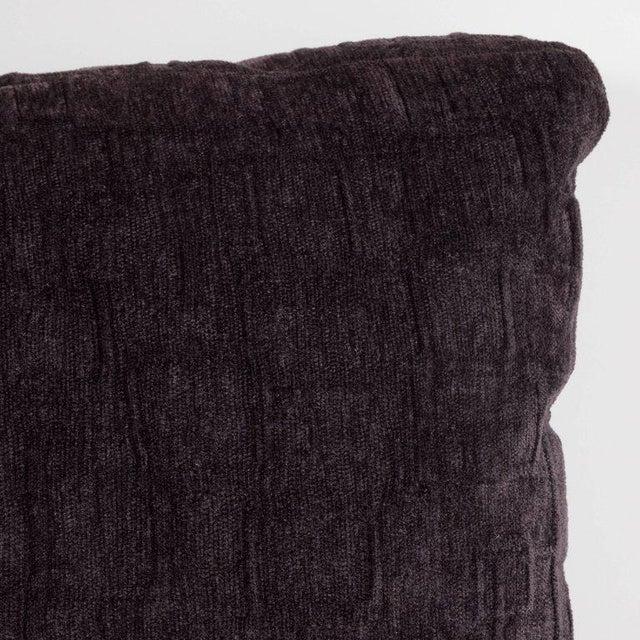 Custom Handmade Gaufraged Velvet Rectangular Pillow in a Smoked Amethyst Hue For Sale - Image 4 of 6